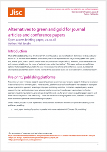 Cover page image for open access briefing paper Alternatives to green and gold