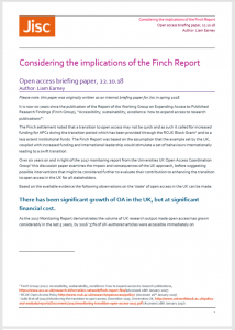 Jisc OA briefing paper Considering the Finch Report cover page