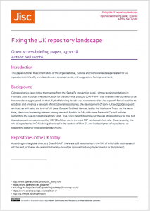 Cover page: Fixing the UK repository landscape