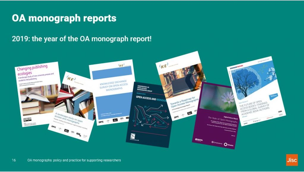 Slide text: OA monographs reports. 2019: the year of the OA monograph report!